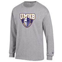 UMHB Official Logo L/S Tee Grey